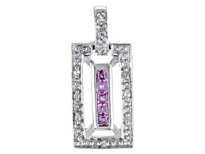 Pink Ceylon Sapphire Sterling Silver Pendant .30ctw
