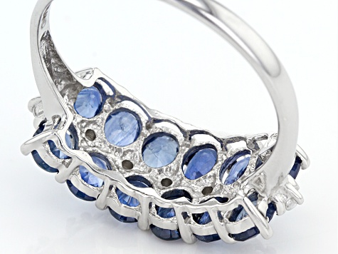 Blue Kanchanaburi Sapphire Sterling Silver Ring 2.72ctw
