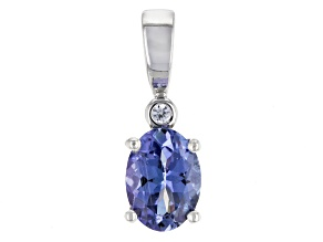 Blue Tanzanite Rhodium Over Sterling Silver Pendant 1.03ctw