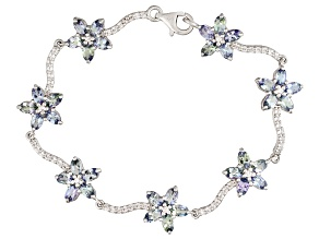 Blue Tanzanite Sterling Silver Bracelet 9.72ctw