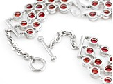 Red Winza Sapphire Sterling Silver Bracelet 7.01ctw