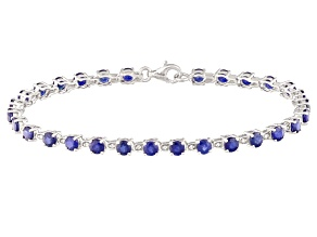 Blue Kanchanaburi Sapphire Sterling Silver Bracelet 7.24ctw