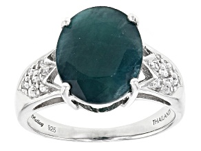 Green Grandidierite Sterling Silver Ring 3.73ctw.