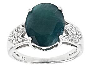 Green Grandidierite Sterling Silver Ring 3.73ctw.