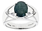 Green Grandidierite Sterling Silver Ring 1.88ctw.