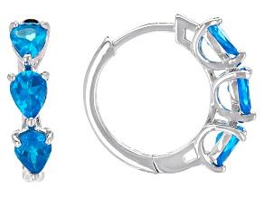 Neon Blue Apatite Sterling Silver Huggie Earrings 1.84ctw