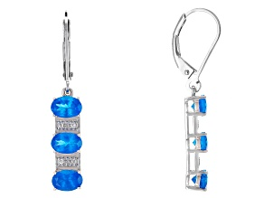 Neon Blue Apatite Sterling Silver Earrings 2.61ctw