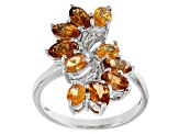 Orange Mandarin Garnet Sterling Silver Ring 2.52ctw