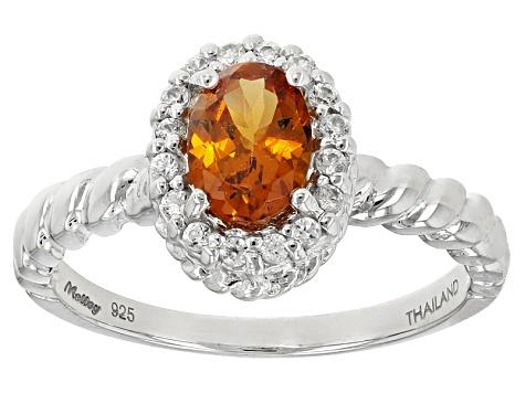 small mandarin garnet and silver ring