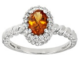 Orange Mandarin Garnet Sterling Silver Ring 1.00ctw