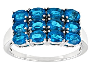 Neon Blue Apatite Sterling Silver Ring 2.38ctw