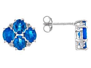 Neon Blue Apatite Sterling Silver Earrings 2.63ctw