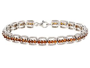 Orange Mandarin Garnet Sterling Silver Bracelet 5.33ctw