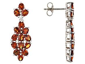Orange Mandarin Garnet Sterling Silver Earrings 4.49ctw