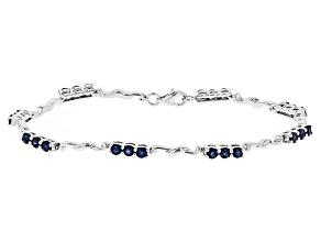 Blue Kanchanaburi Sapphire Sterling Silver Bracelet 3.13ctw