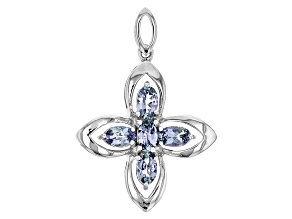 Blue Tanzanite Sterling Silver Cross Pendant 1.18ctw