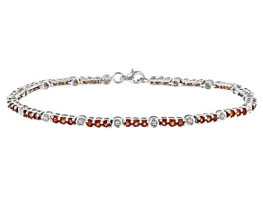 Red Winza Sapphire Sterling Silver Bracelet 4.32ctw