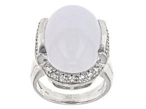 Blue Turkish Chalcedony Silver Ring .47ctw