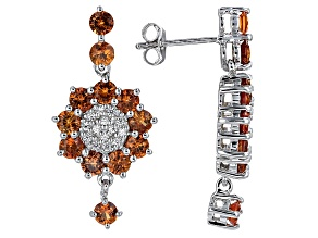 Orange Sapphire Sterling Silver Earrings 4.95ctw