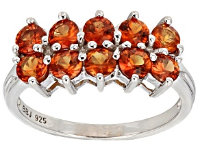 Orange Sapphire Sterling Silver Ring 1.76ctw