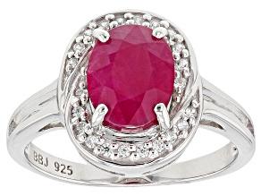 Red Kenya Ruby Rhodium Over Silver Ring 2.46ctw