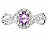 Purple Ceylon Sapphire Rhodium Over Silver Ring 0.64ctw