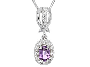 Purple Ceylon Sapphire Rhodium Over Silver Pendant With Chain .58ctw