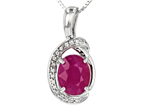 Red Kenya Ruby Rhodium Over Silver Pendant With Chain 3.18ctw