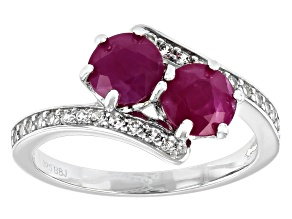 Red Kenya Ruby Rhodium Over Silver Ring 2.24ctw