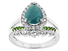 Green Grandidierite Rhodium Over Silver Ring 2.56ctw