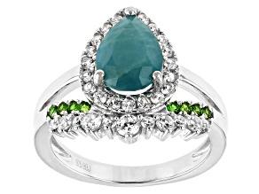 Green Grandidierite Rhodium Over Silver Ring 2.56ctw