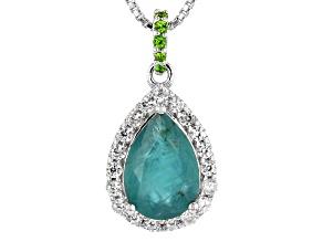 Green Grandidierite Rhodium Over Silver Pendant With Chain 2.39ctw