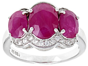 Picture of Red Kenya Ruby Rhodium Over Silver Ring 4.27ctw