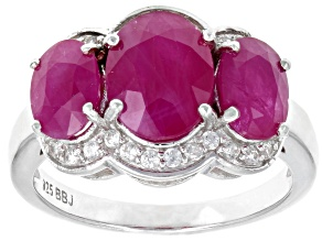 Red Kenya Ruby Rhodium Over Silver Ring 4.27ctw