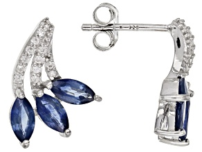 Blue Kanchanaburi Sapphire Rhodium Over Silver Earrings 1.52ctw