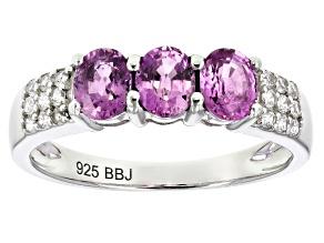 Purple Ceylon Sapphire Rhodium Over Silver Ring 1.26ctw
