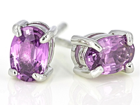 Purple Ceylon Sapphire Rhodium Over Silver Earrings 1.16ctw