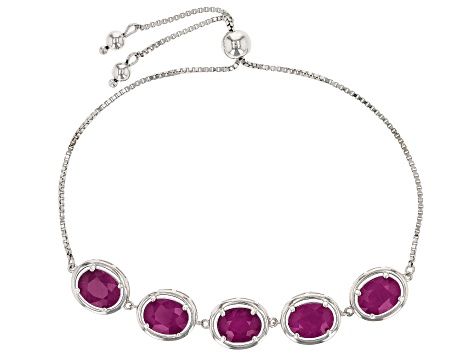 Red Kenya Ruby Rhodium Over Silver Bracelet 10.20ctw