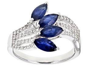 Blue Kanchanaburi Sapphire Rhodium Over Silver Ring 1.66ctw