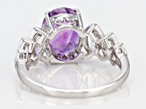Purple Cambodian Amethyst Rhodium Over Silver Ring 3.22ctw