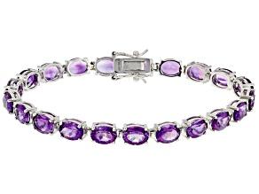 Purple Cambodian Amethyst Rhodium Over Silver Bracelet 20.53ctw