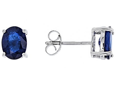 Blue Burmese Spinel Rhodium Over Silver Stud Earrings 2.65ctw