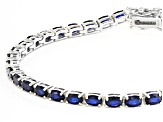 Blue Spinel Rhodium Over Silver Bracelet 7.17ctw