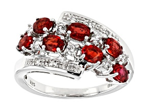 Red Winza Sapphire Rhodium Over Silver Ring 1.76ctw