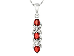 Red Winza Sapphire Rhodium Over Silver Pendant With Chain .63ctw
