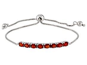 Red Winza Sapphire Rhodium Over Silver Bolo Bracelet 1.56ctw