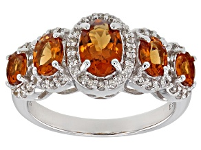 Orange Mandarin Garnet Rhodium Over Silver Ring