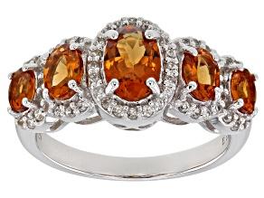Orange Mandarin Garnet Rhodium Over Silver Ring 1.99ctw