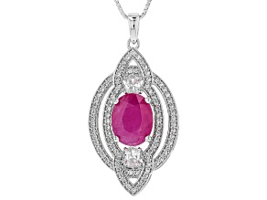 Red Kenya Ruby Rhodium Over Silver Pendant With Chain 4.04ctw
