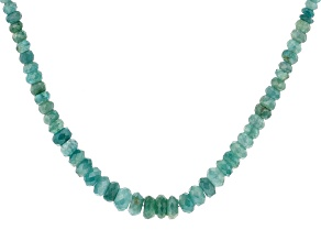 Green Grandidierite Rhodium Over Silver Necklace Approximately 110.00ctw